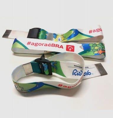 Pulseira de Tecido Reutilizável Rio 2016